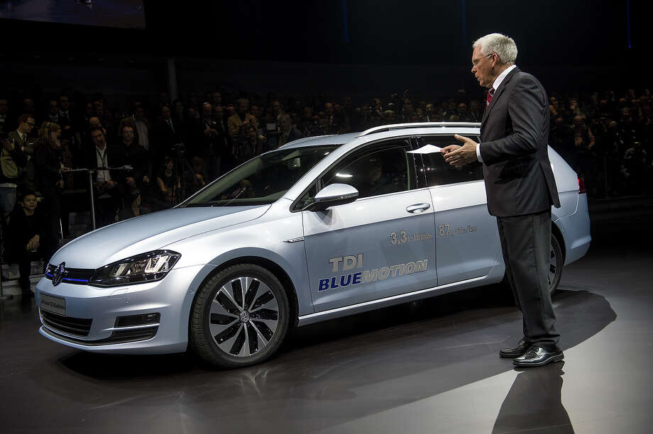 Volkswagen development head Ulrich Hackenberg introduces a new Gold Variant TDI bluemotion during a preview of German car maker Volkswagen Group on March 4, 2013 ahead of the Geneva Car Show in Geneva. Photo: FABRICE COFFRINI, AFP/Getty Images / 2013 AFP