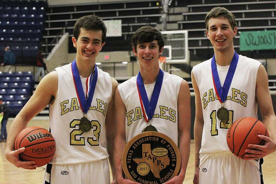 Boerne Geneva basketball players (L-R) Nolan Townsend, Nick Thornton and Jake Martin earned positions on the TAPPS Class 2A, ALL-Tournament team following the Eagles victory over Waco Vanguard in Saturday's state championship game in Mansfield. Photo: Libby Lunsford / Courtesy Photo