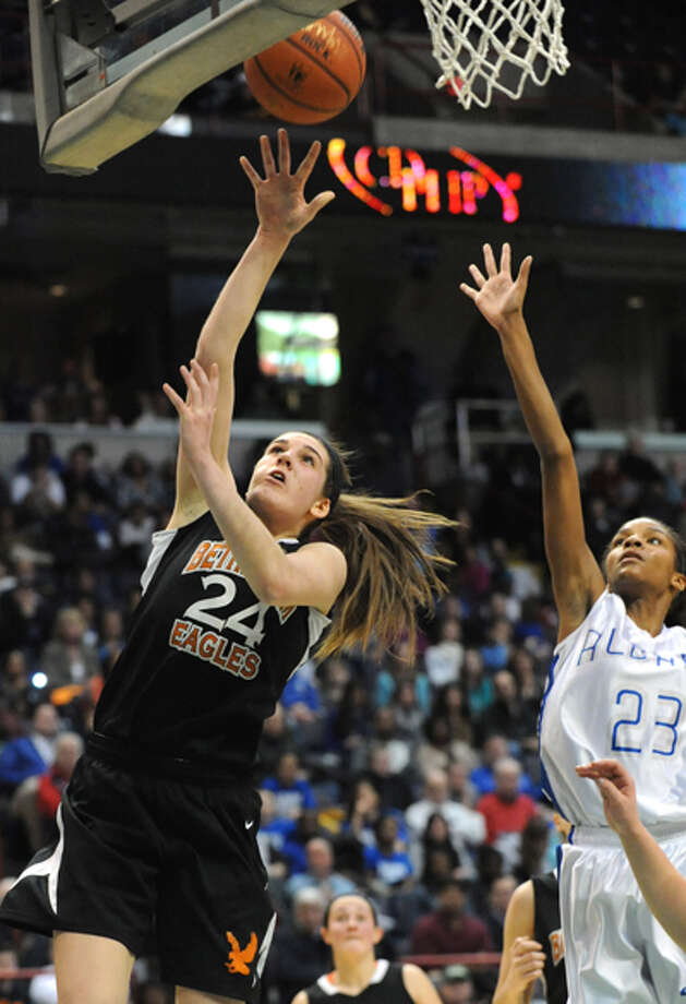 Bethlehem's Gabby Giacone makes a layup during the Class AA girls' championship basketball game against Albany at the Times Union Center on Monday March 4, 2013 in Albany, N.Y. Photo: Lori Van Buren