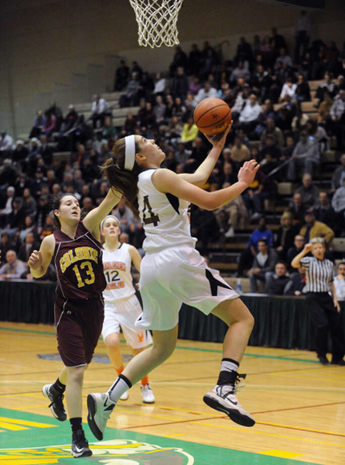 Bethlehem's Gabby Giacone goes in for a score during their Section II Class AA girl's basketball semifinal game against Colonie on Wednesday Feb. 27, 2013 in Troy, N.Y. Photo: Michael P. Farrell