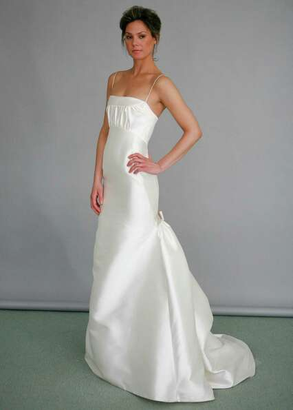 2008: A model wears a wedding dress from the Angel Sanchez Bridal Collection