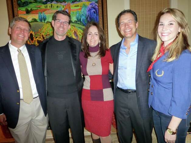 Board Chairman Carl Leafstedt (from left) enjoys the San Antonio Chamber Choir's concert with Artistic Director Scott MacPherson, hosts Drs. Alice and Sergio Viroslav and Ellie Leeper. Photo: Nancy Cook-Monroe, For The Express-News