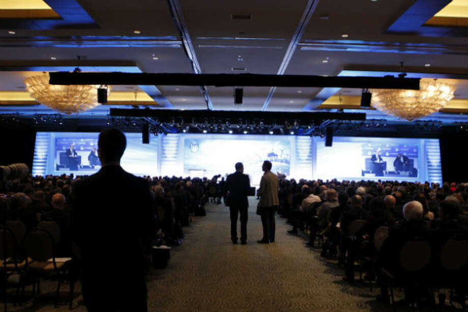 IHS CERAWeek attendees listen to Saudi Aramco CEO Khalid Al-Falih speak about progress in the oil industry on Tuesday.