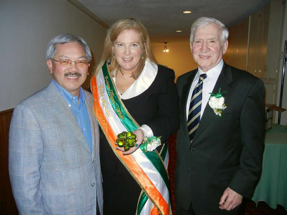 St. Patrick's Day Grand Marshalls Mayor Ed Lee (left) with SFFD Chief Joanne Hayes-White and United Irish Societies President Diarmuid Philpott at the Irish Cultural Center. March 2013. By Catherine Bigelow. Photo: Catherine Bigelow, Special To The Chronicle