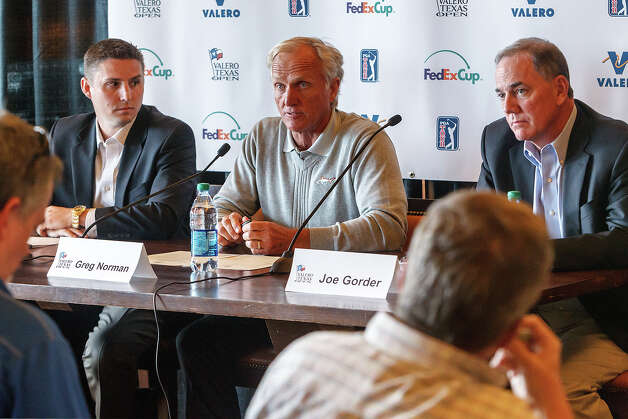 Tournament director Larson Segerdahl (from left), famed golfer Greg Norman and Valero President and Chief Operating Officer Joe Gorder fielded questions and announced early player commitments for the 2013 Valero Texas Open at the clubhouse at TPC San Antonio on Tuesday, Feb. 26, 2013.  The tournament is scheduled for April 1-7 at the TPC-San Antonio AT&T Oaks Course   MARVIN PFEIFFER/ mpfeiffer@express-news.net Photo: MARVIN PFEIFFER, Marvin Pfeiffer/ Express-News / Express-News 2013