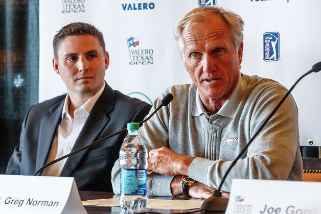 Famed golfer Greg Norman (right), tournament director Larson Segerdahl and Valero President and Chief Operating Officer Joe Gorder (not pictured) fielded questions and announced early player commitments for the 2013 Valero Texas Open at the clubhouse at TPC San Antonio on Tuesday, Feb. 26, 2013.  The tournament is scheduled for April 1-7 at the TPC-San Antonio AT&T Oaks Course   MARVIN PFEIFFER/ mpfeiffer@express-news.net Photo: MARVIN PFEIFFER, Marvin Pfeiffer/ Express-News / Express-News 2013