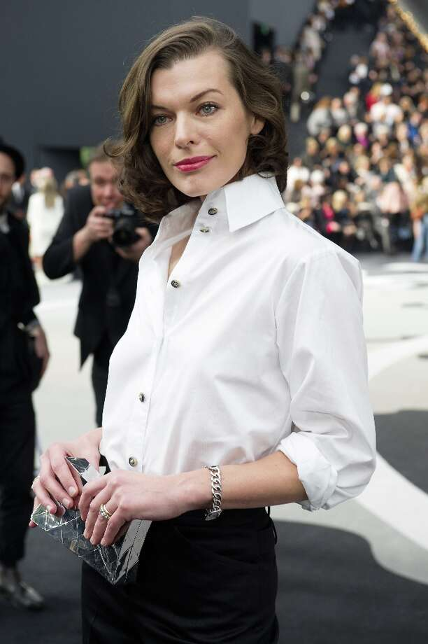 Milla Jovovich attends the Chanel Fall/Winter 2013/14 Ready-to-Wear show as part of Paris Fashion Week at Grand Palais on March 5, 2013 in Paris, France. Photo: Kristy Sparow, Getty Images / 2013 Kristy Sparow
