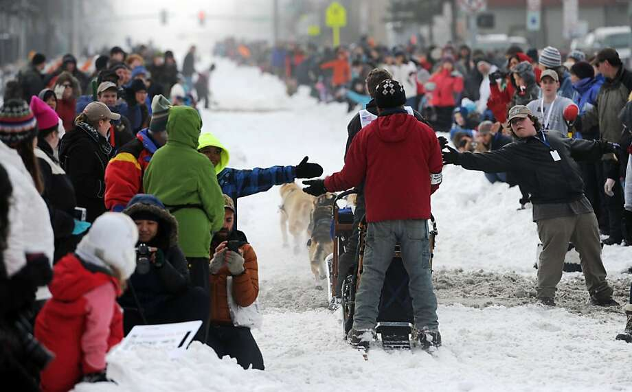 Lindwood Fiedler drives his team down Cordova Street during the ceremonial start of the Iditarod Trail Sled Dog Race on Saturday, March 2, 2013, in Anchorage, Alaska. The competitive portion of the 1,000-mile race is scheduled to begin Sunday in Willow, Alaska. (AP Photo/Anchorage Daily News, Bill Roth) Photo: Bill Roth, Associated Press