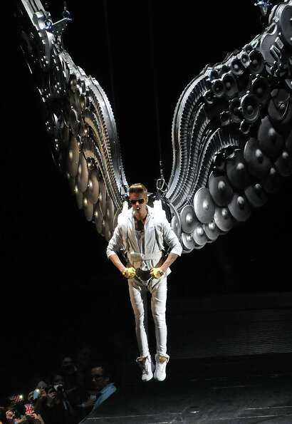 Justin Bieber performs on stage in concert on the opening London night of the Believe World Tour at