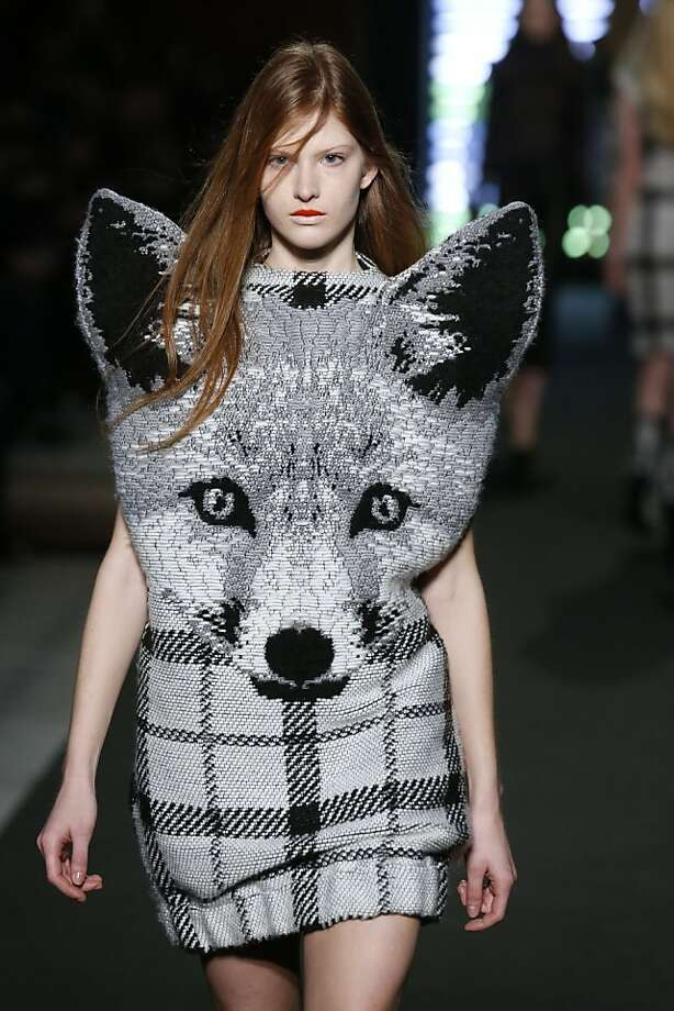 Whatever you do,don't wear this sweater skirt near a pack of baying hounds. (Jean-Charles De Castelbajac creation for Paris Fashion Week.) Photo: Pierre Verdy, AFP/Getty Images