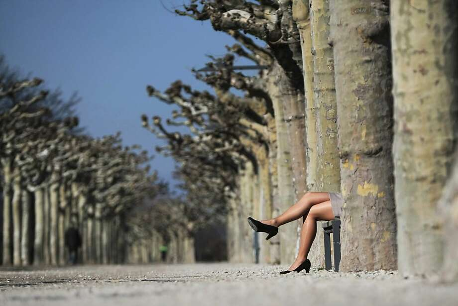 High heels and nylonsstretch out in the sun on a late-winter day in Mainz, Germany. Photo: Fredrik Von Erichsen, AFP/Getty Images