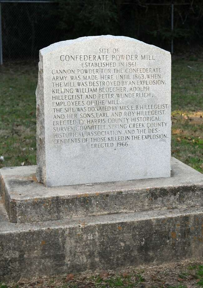 The powder mill monument is located in Spring Creek Park. Photo: Jerry Baker, Freelance