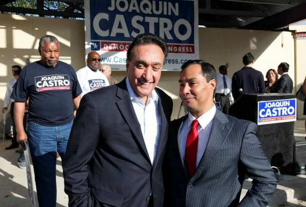 Joaquin Castro with Henry Cisneros on the campaign trail, 2012.
