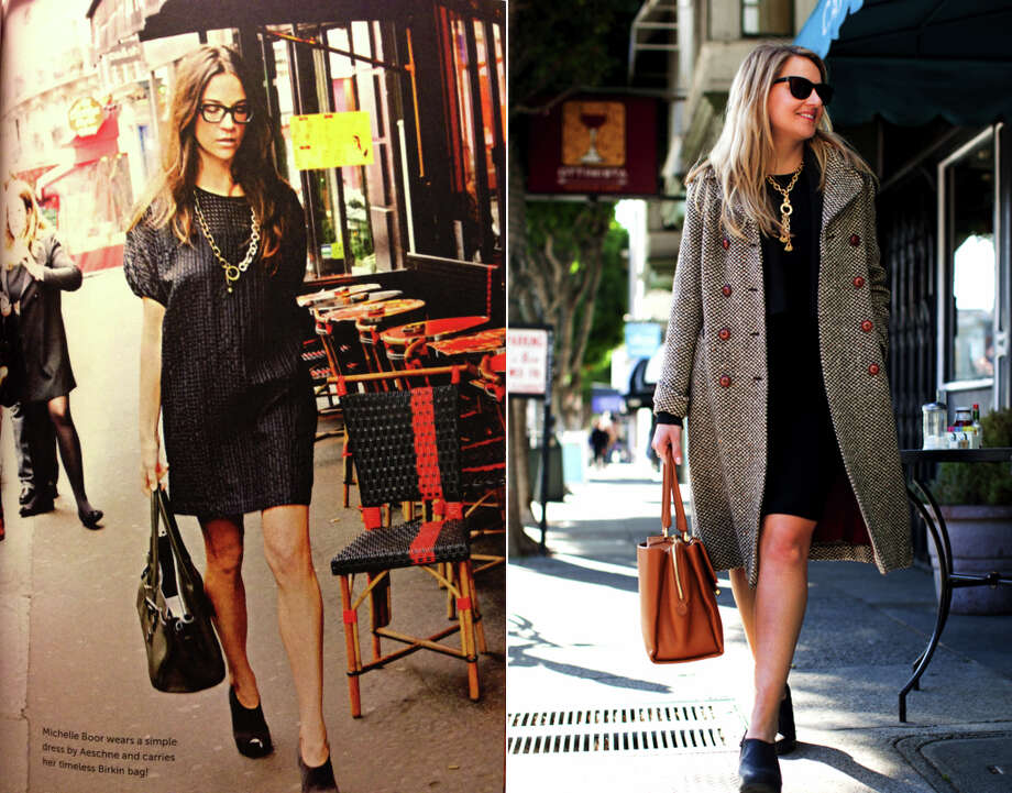 Book says: The little black dress is an ace in the hole for every wardrobe that takes itself seriously. And, vintage clothes offer an excellent way of creating a personal look and should be combined with new clothes. I say: This vintage tweed coat from Sussex gave new life to a trusty LBD.