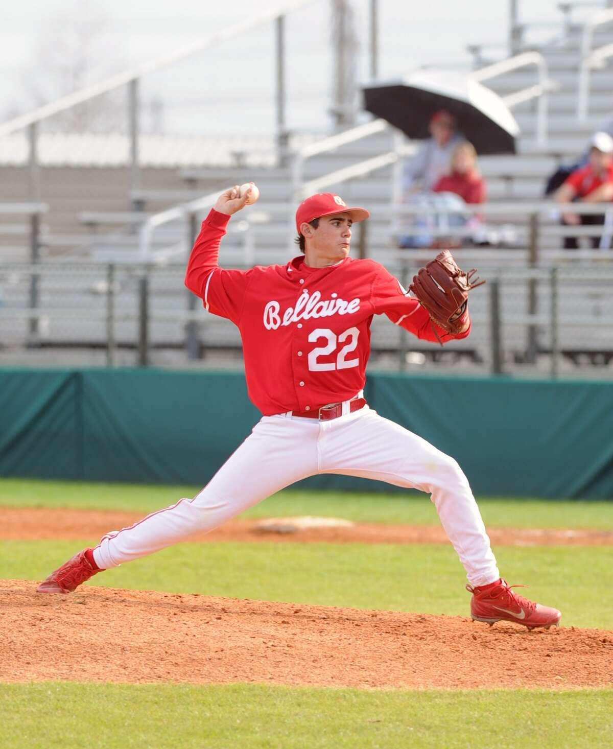 Bellaire defeated Furr to win the 45th Annual Ray Knoblauch Baseball Tournament, 8-0. Bellaire went undefeated in the tournament. Bellaire relief pitcher Colton Rembert (22) delivers the pitch.
