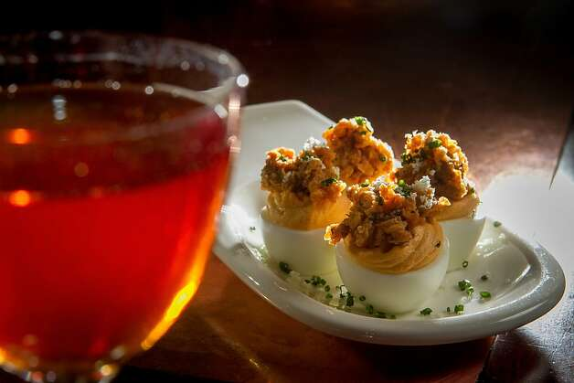 Deviled eggs with the Preakness cocktail. Photo: John Storey