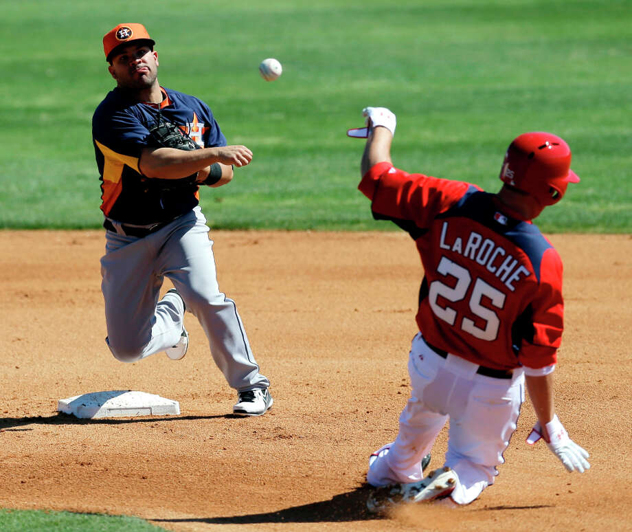 Jose Altuve of the Astros throws to first to complete a double play as Adam LaRoche of the Nationals slides into second base. Photo: David J. Phillip