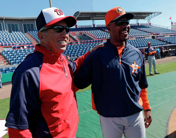 Astros manager Bo Porter and Nationals manager Davey Johnson speak before their teams play. Photo: David J. Phillip
