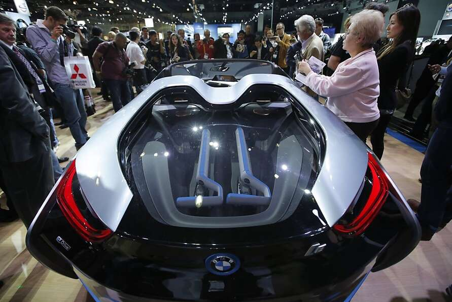 The BMW i8 Concept is shown at the LA Auto Show in Los Angeles, Wednesday, Nov. 28, 2012. (AP Photo/