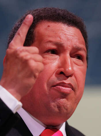 Venezuelan President Hugo Chavez gestures as he speaks to delegates at the Climate Change Conference on December 16, 2009 in Copenhagen, Denmark. Photo: Peter Macdiarmid, Getty Images / 2009 Getty Images