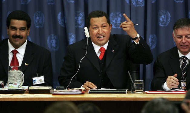 Venezuelan President Hugo Chavez speaks during a news conference while attending the United Nations General Assembly September 20, 2006 at the UN in New York City. Photo: Spencer Platt, Getty Images / 2006 Getty Images