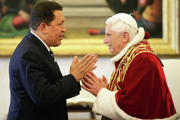 Pope Benedict XVI meets President of Venezuela Hugo Chavez at his private library May 11, 2006 in Vatican City. President Chavez is on an official trip to the area. Photo: Pool, Getty Images / 2006 Getty Images