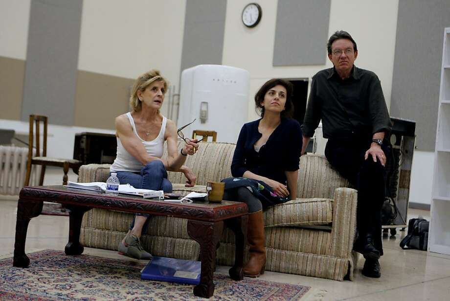 "Concetta Tomei (from left), Marjan Neshat and Lawrence Wright at a rehearsal for ""Fallaci."" ""I have loved theater since I was a kid in Dallas,"" Wright says of playwriting. Photo: Jessica Olthof, The Chronicle"