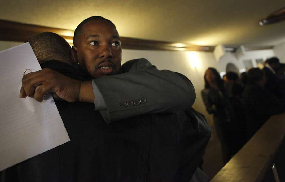 "Ramon Price Sr. nervously scans the crowd before his son Lamont Price's funeral, Wednesday  February 29, 2012, at the Mt. Calvary Missionary Baptist Church in Oakland. Price received phone calls the evening before claiming there were people who were coming to the funeral to ""shoot up"" his son's casket to make sure he was dead. Photo: Lacy Atkins, The Chronicle"
