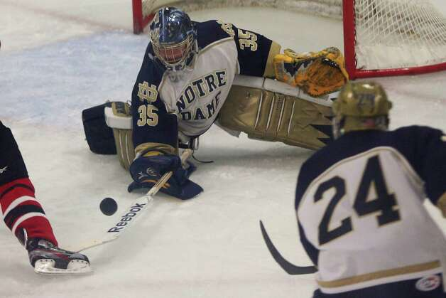 Mike Ross Connecticut Post freelance -Notre Dame Fairfield goalie # 35 Stone Denbok maves a save against Fairfield Prep during Thursday evening match-up. Photo: Mike Ross / @www.mikerossphoto.com