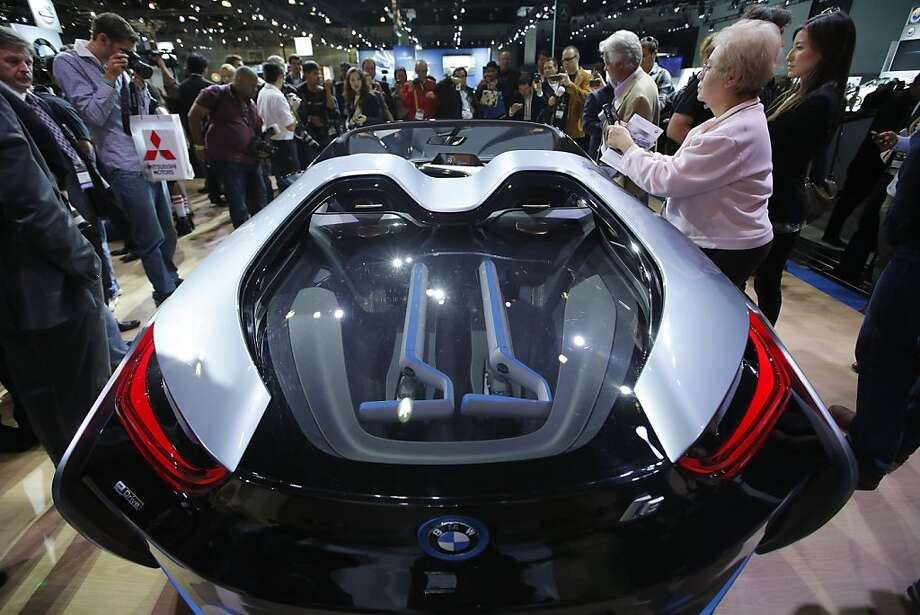 The BMW i8 Concept is shown at the LA Auto Show in Los Angeles, Wednesday, Nov. 28, 2012. (AP Photo/Jae C. Hong)