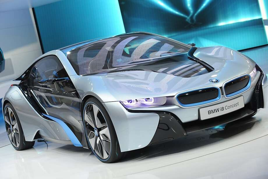 The BMW i8 Concpt car on display during the first press preview day at the 2012 North American International Auto Show January 9, 2012 in Detroit, Michigan. AFP PHOTO/Stan HONDA (Photo credit should read STAN HONDA/AFP/Getty Images)