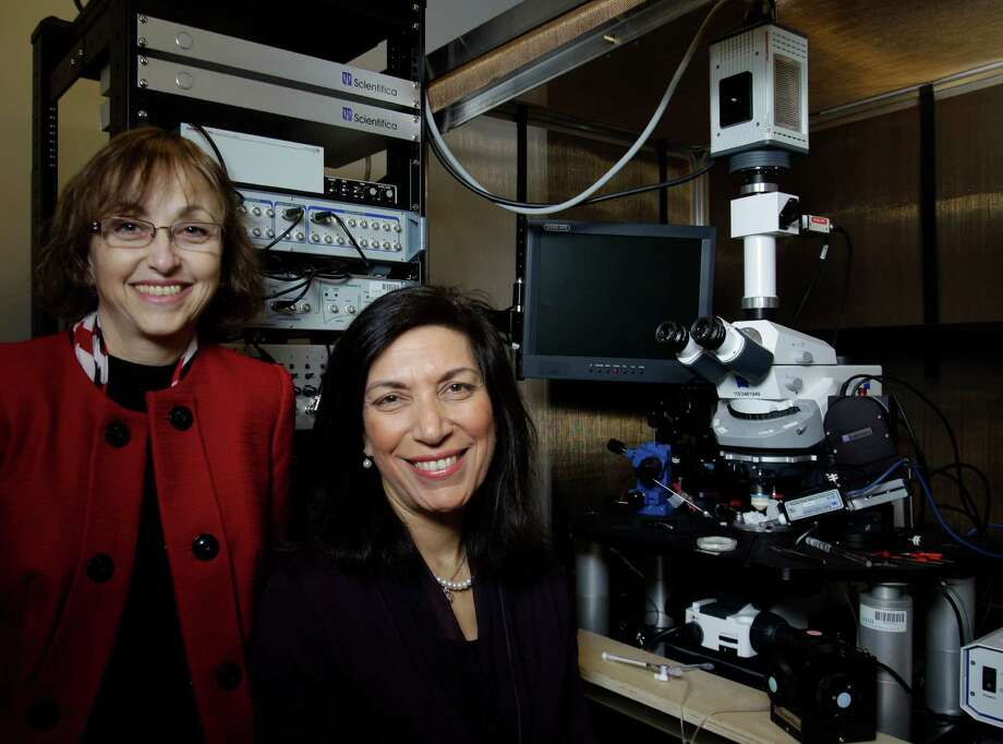 Professors Dora Angelaki, left, and Huda Zoghbi want Baylor College of Medicine to help with the brain research. Photo: Melissa Phillip, Staff / © 2013  Houston Chronicle