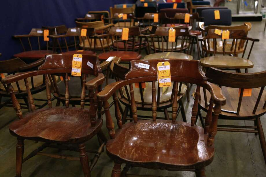 Chairs for $25 are shown at the University of Washington Surplus Store on Tuesday, March 5, 2013. The store sells items no longer being used by the university, often at rock bottom prices. Photo: JOSHUA TRUJILLO / SEATTLEPI.COM