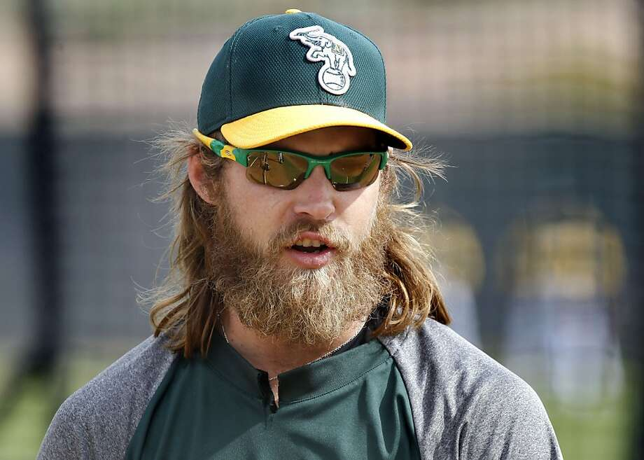 Josh Reddick is involved in a beard-growing contest. Photo: Michael Macor, The Chronicle