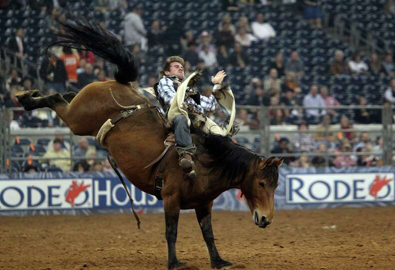 Joe Gunderson competes in Bareback Riding during the BP Super Series III Championship at Reliant Sta