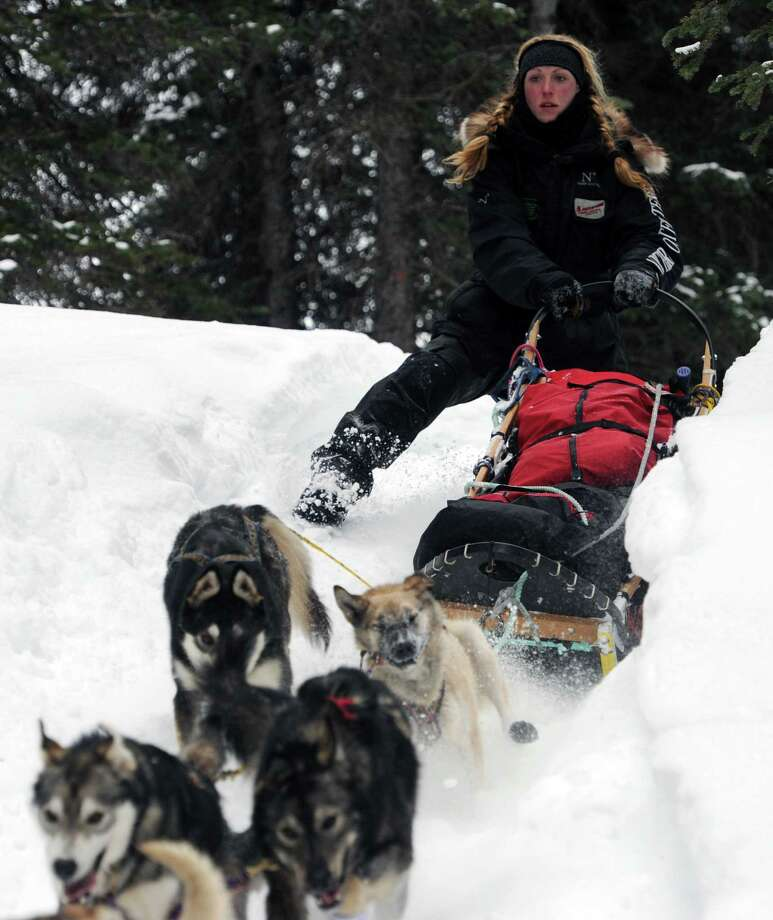 Musher Anna Berington negotiates a steep drop off in the trail after departing the Finger Lake checkpoint in Alaska during the Iditarod Trail Sled Dog Race on Monday, March 4, 2013. Photo: Bill Roth, Associated Press / The Anchorage Daily News