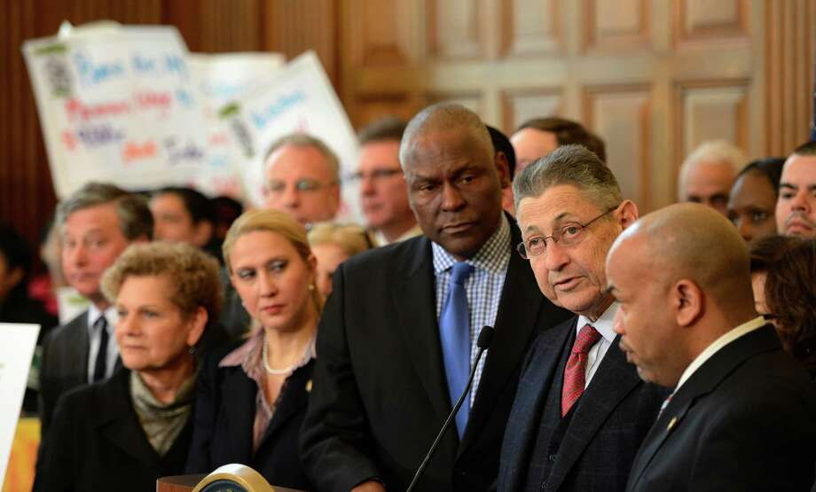 Assembly Speaker Shelly Silver, second from right talks about the pending vote on the minimum wage bill at the State Captiol March 5, 2013 in Albany, N.Y.   (Skip Dickstein/Times Union) Photo: SKIP DICKSTEIN / 10021423A
