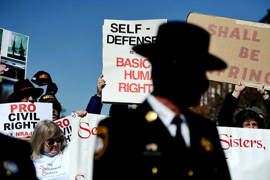 Maryland sheriffs speak as they and other Second Amendment supporters rally against stricter gun control laws at the Maryland State House on March 5, 2013 in Annapolis, Maryland. If the Maryland Firearm Safety Act legislation bill is passed, it would require a license to purchase a handgun, ban the sale of assault style rifles and limit magazine size, among other provisions.  Photo: Patrick Smith, Getty Images