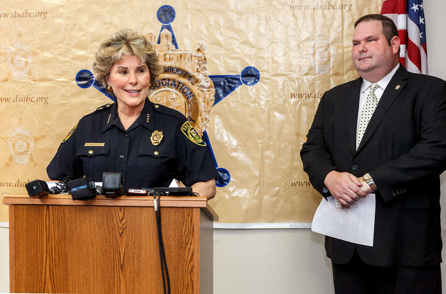 Bexar County Sheriff Susan Pamerleau and Deputy Sheriffs Association President Joel Janssen announce their plan to combat Bexar deputies driving while intoxicated. Photo: Marvin Pfeiffer/ San Antonio Express-News