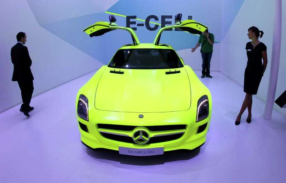 A Mercedes-Benz SLS AMG E-Cell car is seen at the press day of the 64th Frankfurt Auto Show in Frankfurt, Germany, Tuesday, Sept.13,2011.(AP Photo/Michael Probst) Photo: Michael Probst, Associated Press / AP