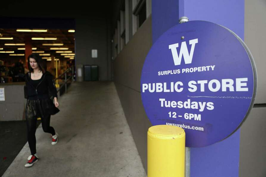 The entry is shown at the University of Washington Surplus Store on Tuesday, March 5, 2013. The stor