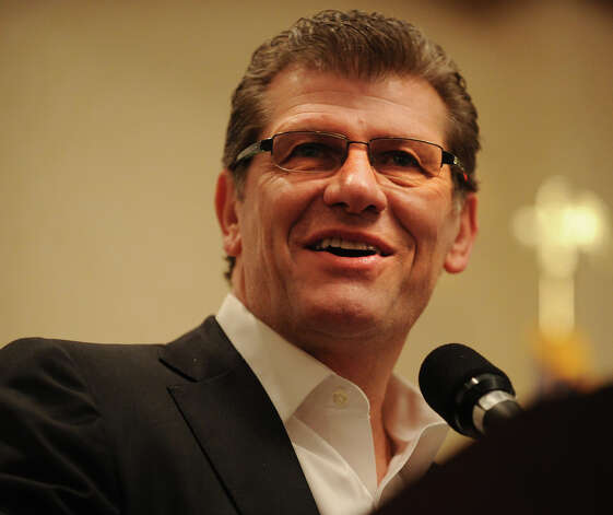 UCONN women's basketball Coach Geno Auriemma addresses the annual Swim Across the Sound fundraising breakfast at the Holiday Inn in Bridgeport, Conn., on Wednesday, March 6, 2013. Photo: Brian A. Pounds / Connecticut Post