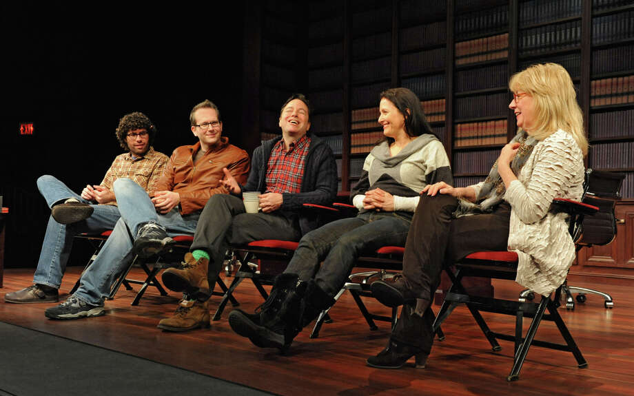 The creative team from left, Zach Dietz, musical director, Tommy Newman, composer, Gordon Greenberg, director, Michele Lynch, choreographer, and Maggie Mancinelli-Cahill, producing artistic director of Cap Rep talk to some of the performers during First Hour about the show Single Girls which is a new musical being developed at Capital Rep on Tuesday Feb. 5, 2013 in Albany, N.Y. (Lori Van Buren / Times Union) Photo: Lori Van Buren, Albany Times Union / 00021031A