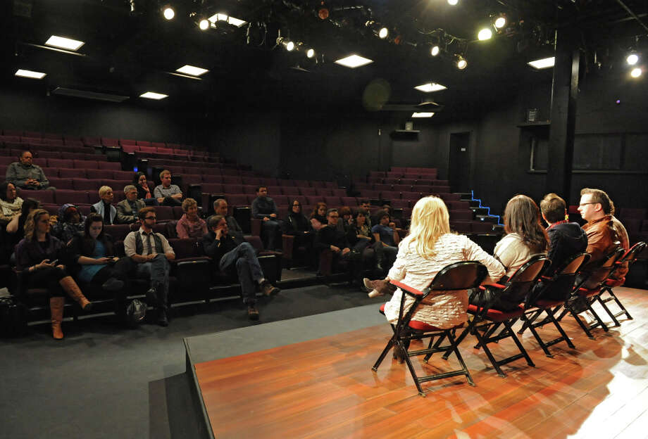 Actors listen as the creative team including Zach Dietz, musical director, Tommy Newman, composer, Gordon Greenberg, director, Michele Lynch, choreographer, and Maggie Mancinelli-Cahill, producing artistic director of Cap Rep talk to them during First Hour about the show Single Girls which is a new musical being developed at Capital Rep on Tuesday Feb. 5, 2013 in Albany, N.Y. (Lori Van Buren / Times Union) Photo: Lori Van Buren, Albany Times Union / 00021031A