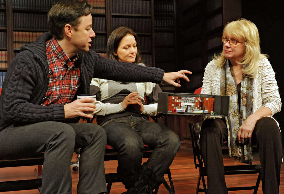 From left, Gordon Greenberg, director, Michele Lynch, choreographer, and Maggie Mancinelli-Cahill, producing artistic director of Cap Rep talk about the set during First Hour about the show Single Girls which is a new musical being developed at Capital Rep on Tuesday Feb. 5, 2013 in Albany, N.Y. (Lori Van Buren / Times Union) Photo: Lori Van Buren, Albany Times Union / 00021031A
