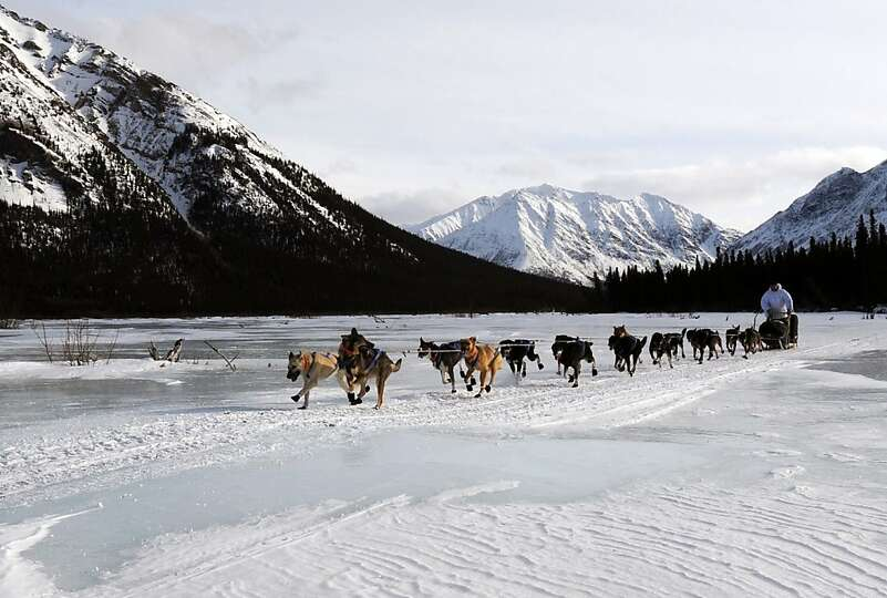 Four-time Iditarod champion Martin Buser leaves the Rohn checkpoint in Alaska during the Iditarod Tr