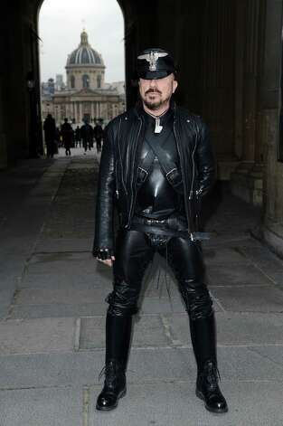 Totally leathered out: Peter Marino attends the Louis Vuitton Fall/Winter 2013 Ready-to-Wear show as part of Paris Fashion Week. Photo: Venturelli, Getty Images / 2013 Venturelli