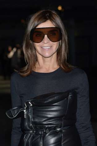 Totally awesome ski goggles: Carine Roitfeld attends the Givenchy Fall/Winter 2013 Ready-to-Wear show as part of Paris Fashion Week. Photo: Dominique Charriau, Getty Images / 2013 Dominique Charriau
