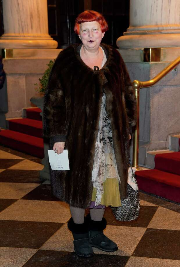 Totally weird: Vogue contributing fashion editor, Lynn Yaeger arrives at the Zac Posen Fall 2013 Mercedes-Benz Fashion Show in New York. Photo: Gilbert Carrasquillo, Getty Images / 2013 Gilbert Carrasquillo