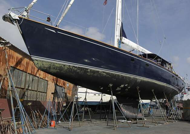 The Darling is drydocked at the Bay Marine Boatworks boatyard in Richmond, Calif. on Tuesday, March 5, 2013. Three people remain in custody after they reportedly stole the 82' vessel from a marina in Sausalito and ran the boat aground in Pacifica early Monday morning. Photo: Paul Chinn, The Chronicle